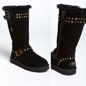 UGG Wynter Tall Stud Black Boots